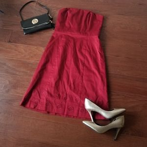 Ann Taylor Red Dress with Embroidered Flowers